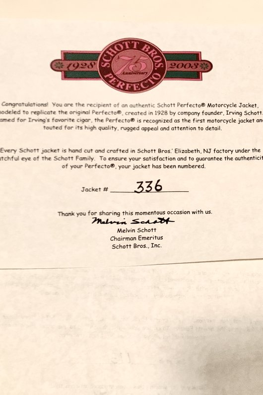 Certificate of authenticity for the jacket numbered