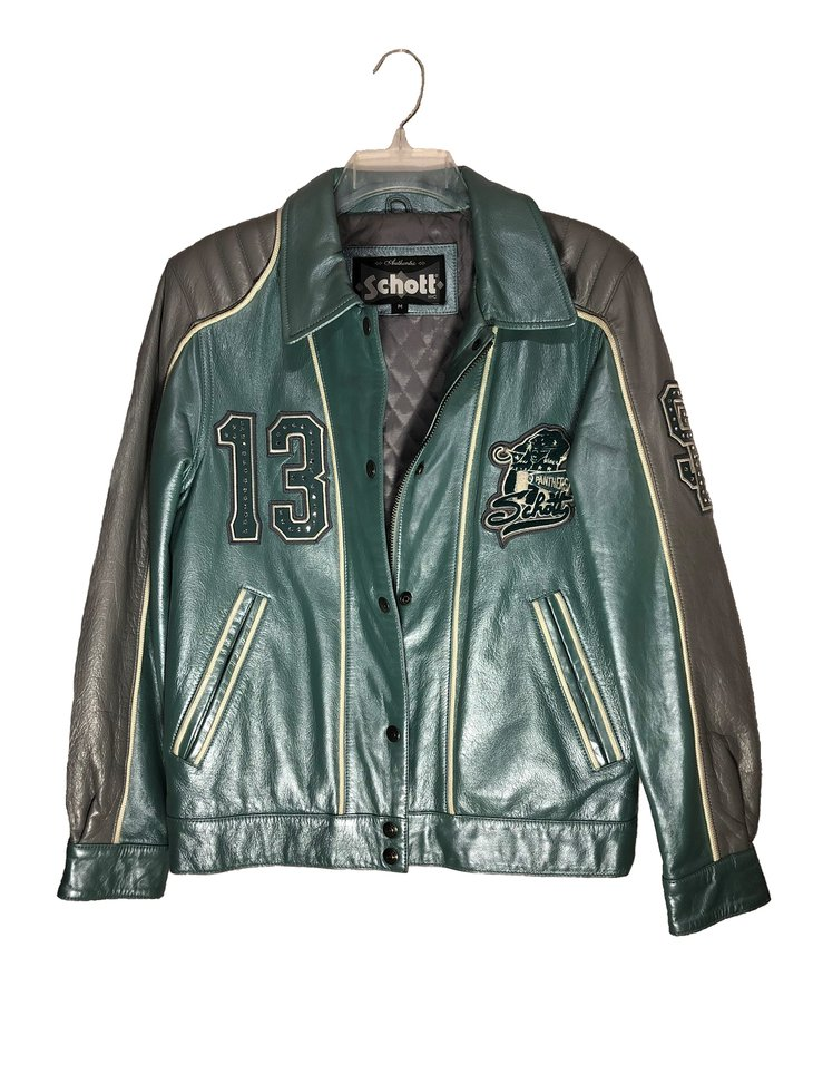 Schott metallic green and silver leather jacket