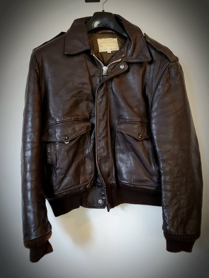Brown leather vintage flight jacket