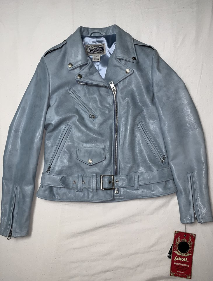 Blue Schott 633W leather jacket with tags