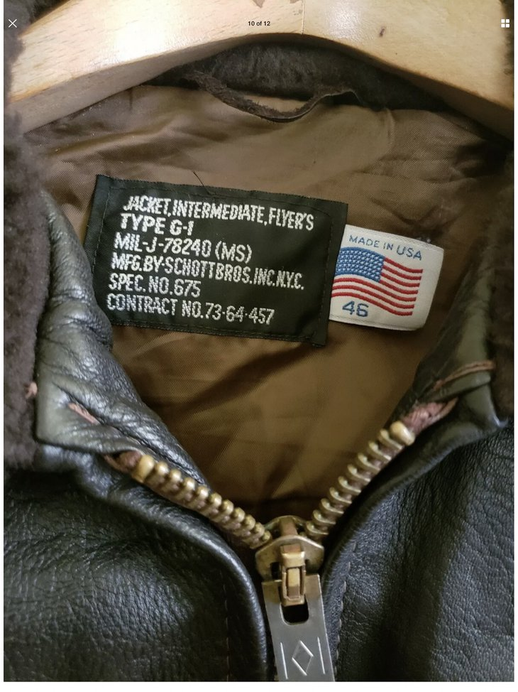 Tag inside a Schott G-1 flight jacket