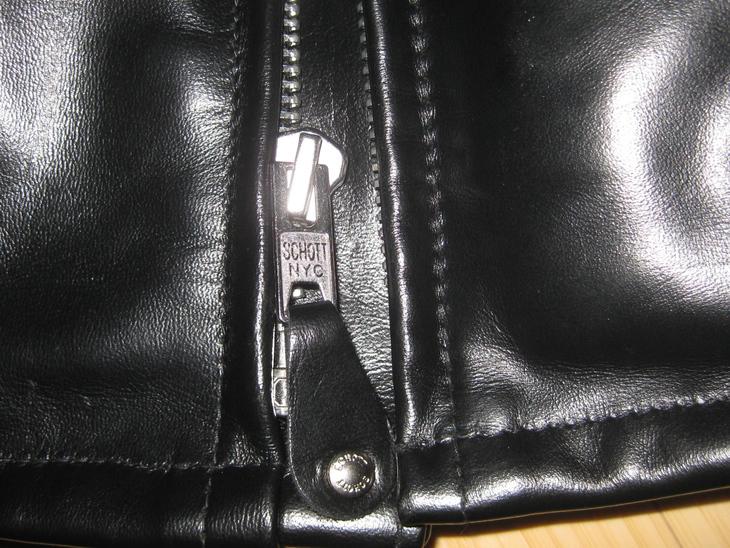 Zipper of the Schott 641 HH jacket