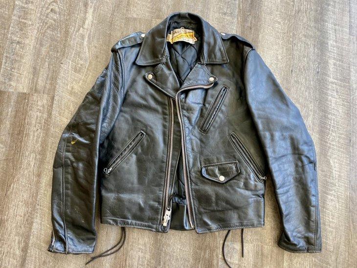 Vintage leather jacket, front