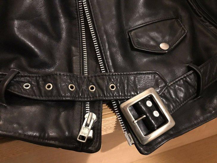 118j Schott buckle and zipper detail