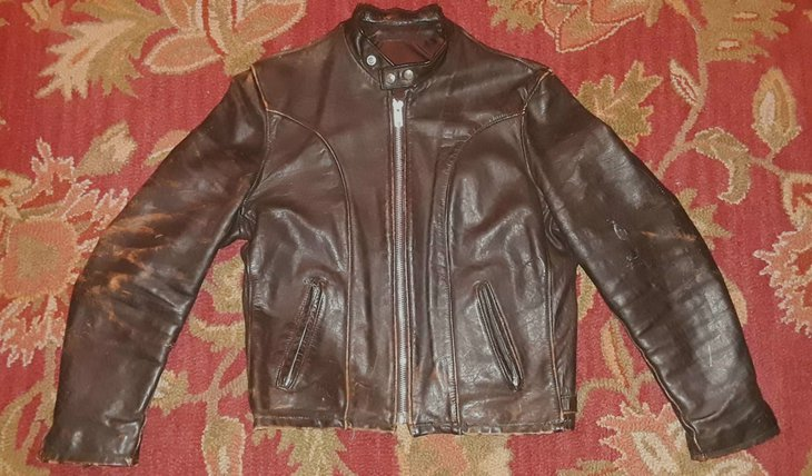 Distressed brown (possibly horsehide) Schott cafe racer.
