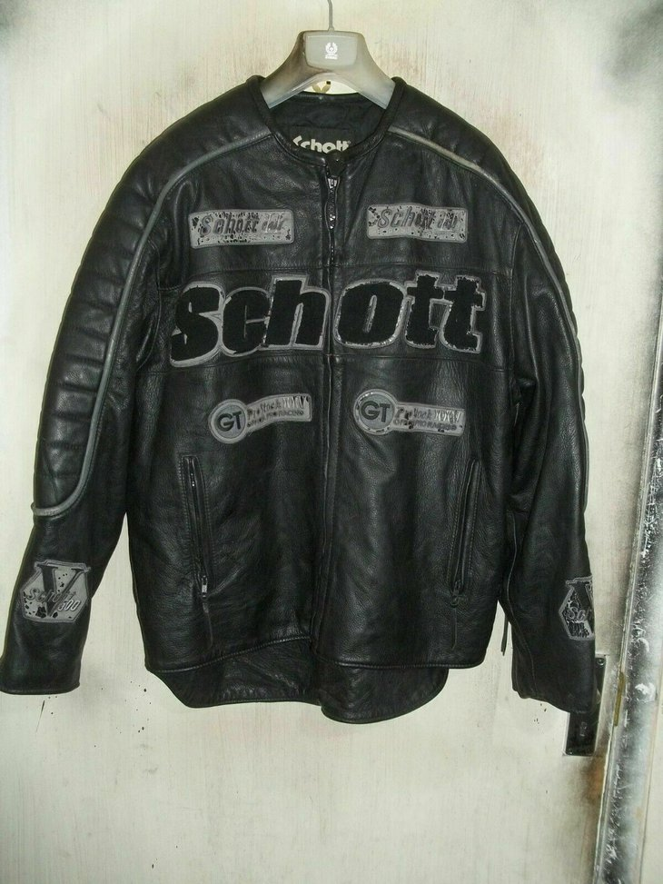 Schott leather v500 motorcycle jacket in black