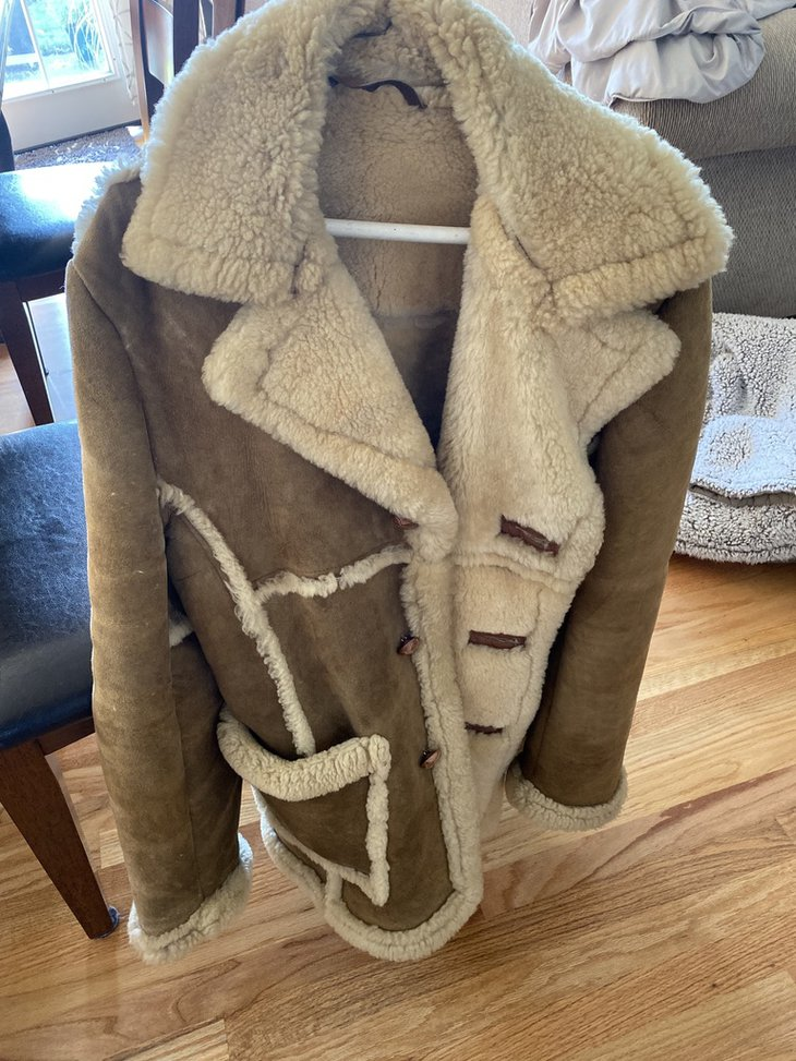 Brown leather jacket with sheep skin through out
