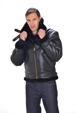 257S - Classic B-3 Sheepskin Leather Bomber Jacket (Ebony)