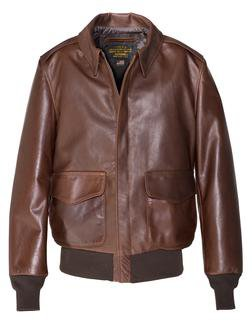 574 - Waxed Natural Pebbled Cowhide A-2 Leather Flight Jacket (Brown)