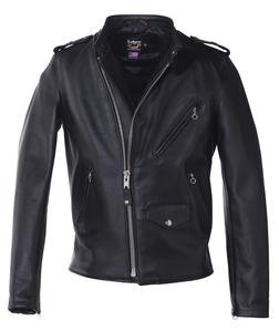 603USA - Cafecto Steerhide Hybrid Cafe Racer Asymmetrical Leather Motorcycle Jacket (Black)