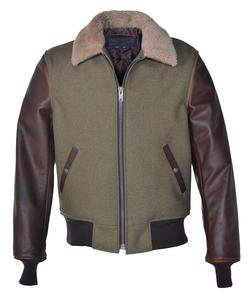 793 - Men's Wool Jacket With Leather Sleeves