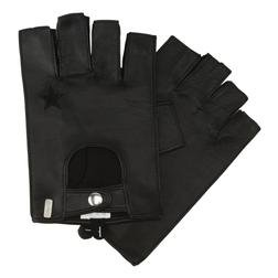A015-B - Fingerless Leather Gloves (Black)