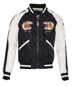 9725 - Two-Tone Nylon Flight Jacket (Black)