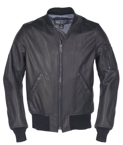 227 - Leather MA-1 Bomber Jacket (Black)
